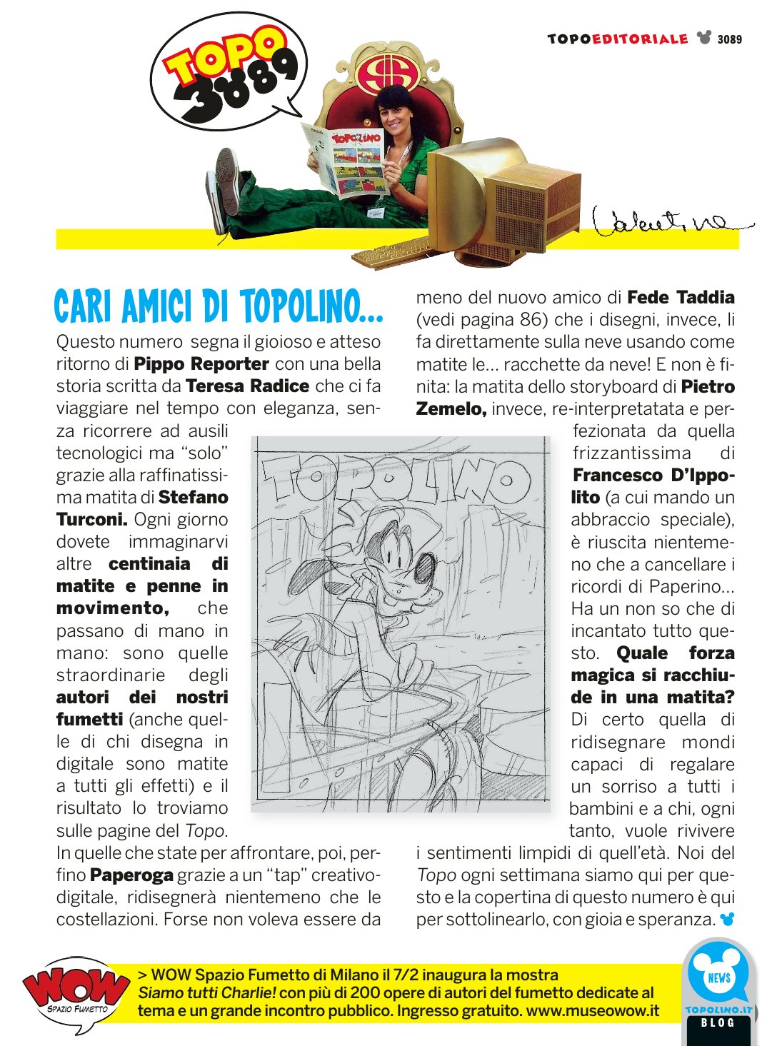 Editoriale stampato su Topolino 3089