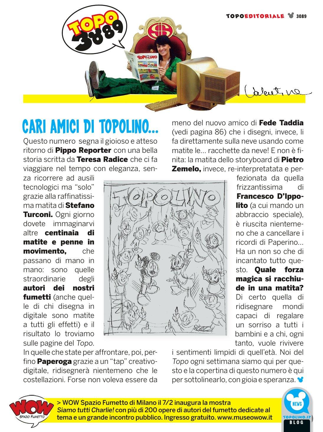 Editoriale originale, poi modificato, di Topolino 3089